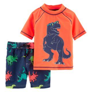 Baby Boy Carter's Dinosaur Rash Guard Top & Swim Shorts Set