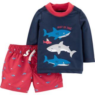 "Baby Boy Carter's Sharks ""Best of Fins"" Rash Guard Top & Swim Shorts Set"