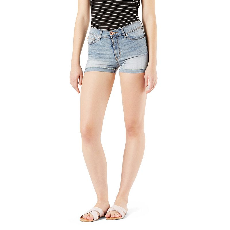 Juniors' Denizen from Levi's High Waisted Jean Shorts, Teens, Size: 17, Blue Showcase your summer style with these juniors' high-waisted jean shorts. 5 pockets Rolled hem FIT & Sizing 2-in. inseam High rise sits at natural waistline Zipper closure Fabric & Care Cotton, polyester, elastane Machine wash Imported Size: 17. Color: Blue. Gender: Female. Age Group: Kids. Material: Denim.