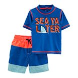 "Baby Boy Carter's ""Sea Ya Later"" Rashguard Top & Shorts Swimsuit Set"