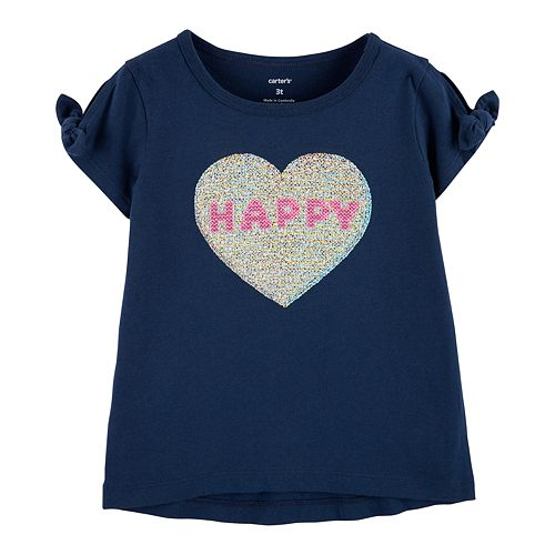 "Baby Girl Carter's ""Happy"" Glittery Heart Graphic Tee"