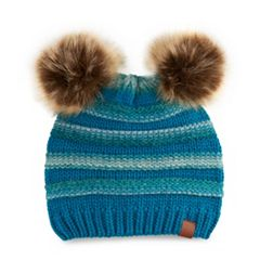 Women's SO® Striped Double Pom Pom Beanie