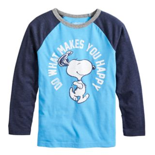 """Boys 4-12 Jumping Beans® Retro Peanuts Snoopy """"Do What Makes You Happy"""" Raglan Graphic Tee"""