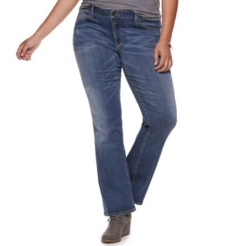 Juniors' Plus Size SO® Low-Rise Destructed Bootcut Jeans