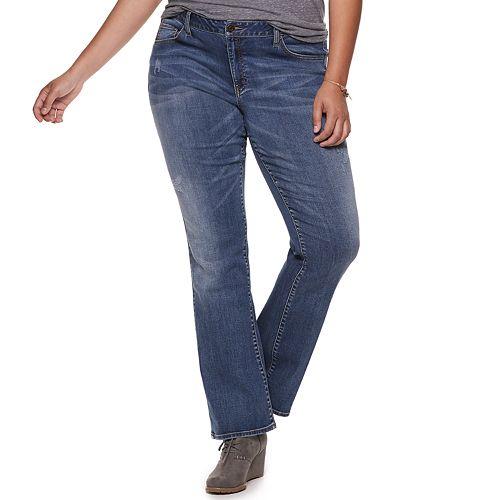 Juniors' Plus Size SO® Low-Rise Destructed Bootcut Jeans