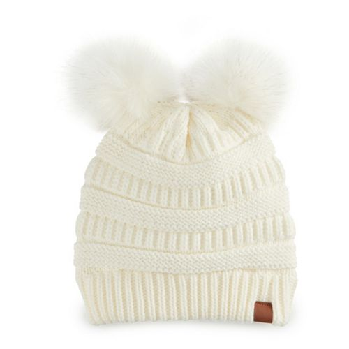 1f8ef5620dcdd Women s SO® Solid Double Pom Pom Beanie