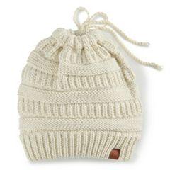 Women's SO® Knit Lurex Messy Bun Beanie