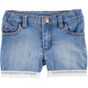 Baby Girl Carter's Fringe-Hem Denim Shorts