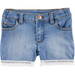 Baby Girl Carter's Fringe-Hem Denim Shorts