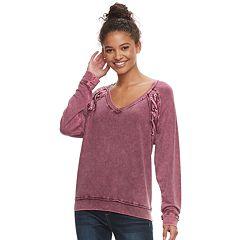 Juniors' Mudd® Lace-Up Sweatshirt