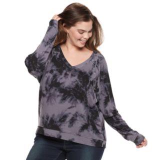 Juniors' Plus Size Mudd® Lace-Up Sweatshirt