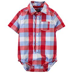 Baby Boy OshKosh B'gosh® Plaid Button Front Bodysuit