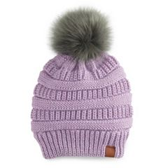 Women's SO® Knit Lurex Pom Pom Beanie