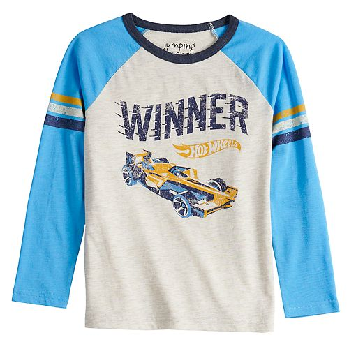 "Boys 4-12 Jumping Beans® Retro Hot Wheels ""Winner"" Striped Raglan Tee"