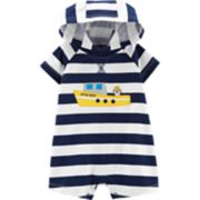 Baby Boy Carter's Striped Steam Boat Hooded Romper