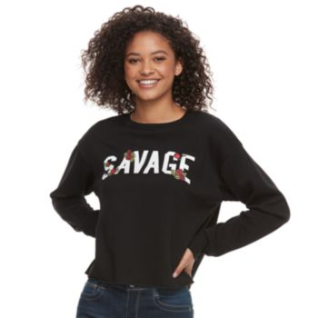 "Juniors' ""Savage"" Roses Top"