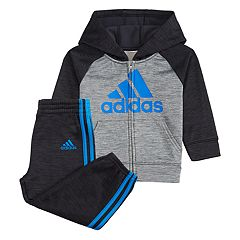 Baby Boy adidas Mélange Fleece Raglan Zip Hoodie & Striped Pants Set