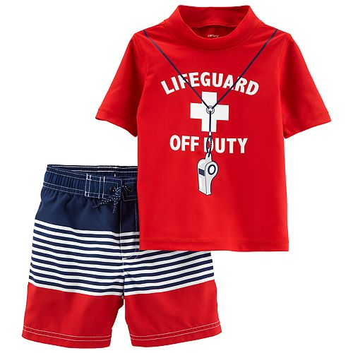 "Toddler Boy Carter's 2 Piece ""Lifeguard Off Duty"" Rash Guard Top & Striped Swim Shorts Set"