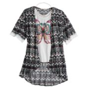 Girls 7-16 Self Esteem Graphic Tank Top & Kimono Set with Necklace