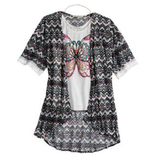 Girls 7-16 Self Esteem Graphic Tank Top & Kimono Set with Necklace