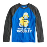 "Boys 8-20 Minions ""Who's Up for Some Trouble"" Tee"