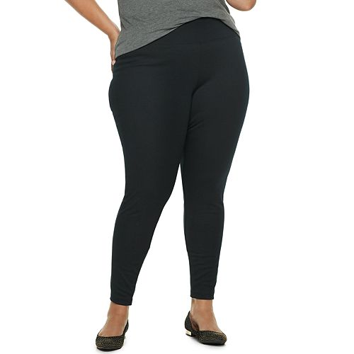 Plus Size Apt. 9® Tummy-Control High-Waisted Ponte Leggings
