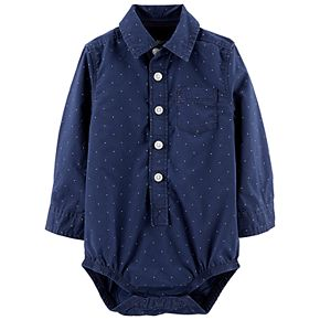 Baby Boy OshKosh B'gosh® Pin Dots Button Front Bodysuit