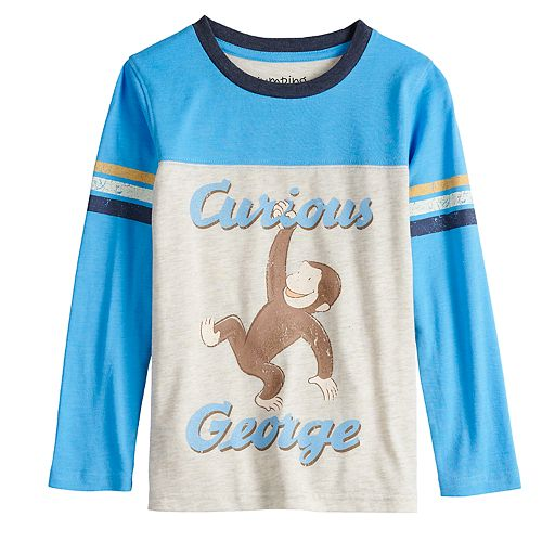 Boys 4-12 Jumping Beans® Retro Curious George Striped Sleeve Colorblock Tee