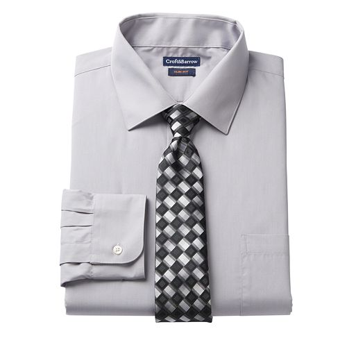 1dce18d6b Men's Croft & Barrow® Slim-Fit Stretch-Collar Dress Shirt and Patterned Tie