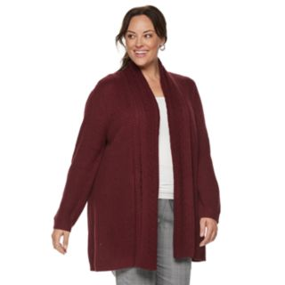 Plus Size Croft & Barrow® Ring Stitch Open Front Cardigan