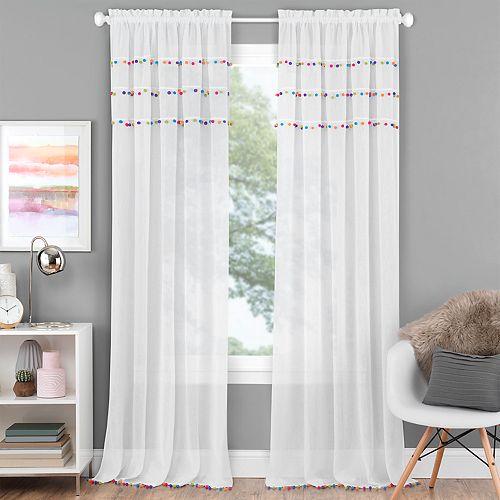 Achim Pom Pom Rod Pocket Window Curtain