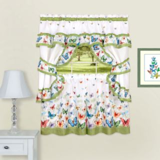 Achim Butterflies Printed Cottage Window Curtain Set