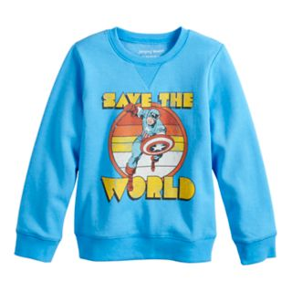 "Boys 4-12 Jumping Beans® Retro Marvel Captain America ""Save The World"" Softest Fleece Top"