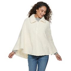 Women's Mudd® Collared Faux Sherpa Poncho
