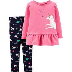 Baby Girl Carter's Unicorn Peplum-Hem Sweatshirt & 'Believe' Leggings Set