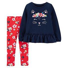 Baby Girl Carter's Cat Peplum-Hem Sweatshirt & Leggings Set