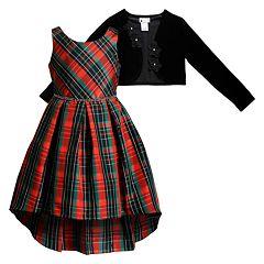 009b27c817 Girls 7-16   Plus Size Emily West Plaid High-Low Dress and Bolero