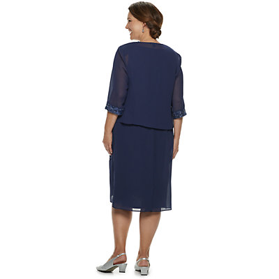 Plus Size LeBos Embroidered Tiered Jacket & Dress Set