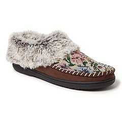Women's Dearfoams Faux Fur Cuff Tapestry Clog Slippers