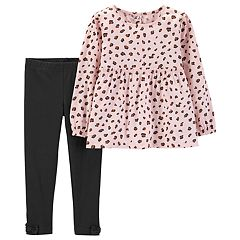 Baby Girl Carter's Cheetah Babydoll Top & Bow Leggings Set