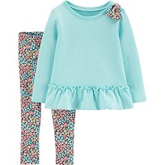 Baby Girl Carter's Peplum-Hem Sweatshirt & Floral Leggings Set
