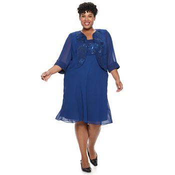 Plus Size Maya Brooke Sequin Dress & Jacket