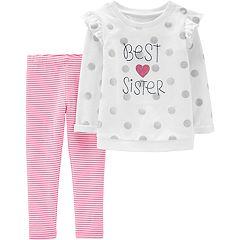 Baby Girl Carter's 'Best Sister' Dot Sweatshirt & Striped Leggings Set