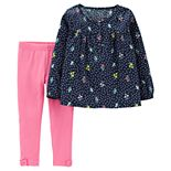 Baby Girl Carter's Floral Henley Top & Bow Leggings Set