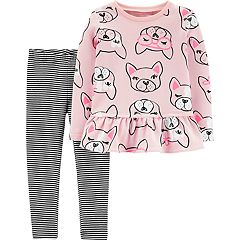Baby Girl Carter's Dog Peplum-Hem Sweatshirt & Striped Leggings Set