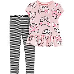 Baby Girl Carter's Dog Peplum-Hem Top & Striped Leggings Set