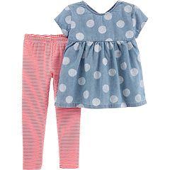Baby Girl Carter's Polka-Dot Chambray Babydoll Top & Striped Leggings Set