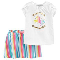 Baby Girl Carter's 'Make Your Own Magic' Tee & Striped Skort Set