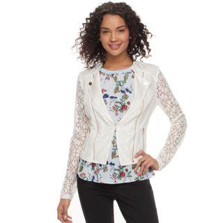 Juniors' Candie's® Lace Moto Jacket