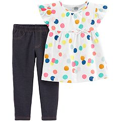 Baby Girl Carter's Polka-Dot Babydoll Top & Jeggings Set